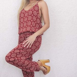 Brandy Melville Maddy Red Mandala Print Jumpsuit